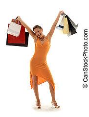 Shopping euphoria - happy girl with shopping bags