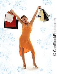 shopping euphoria with snowflakes