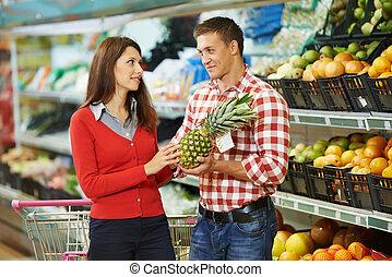 shopping, famiglia, frutte