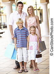 shopping, famiglia, giovane, insieme, godere, viaggio