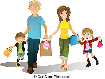 Shopping family - A vector illustration of a family shopping...