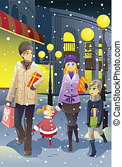 Shopping family in winter - A vector illustration of a...