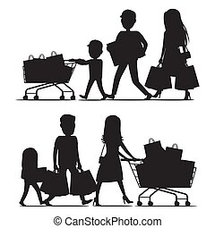 Shopping Family Silhouettes with Packs on White