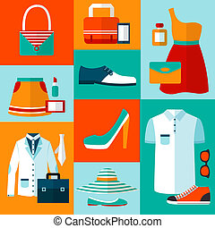 Male and female fashion design clothes and accessories decorative elements icons vector illustration