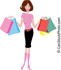 Stylised illustration of a female with lots of shopping bags