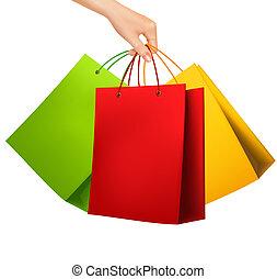 shopping, femmina, colorito, mano, vettore, presa a terra, bags., illustration.