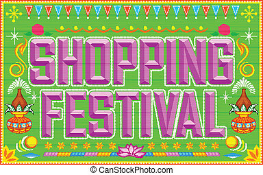 illustration of shopping festival background in truck paint style