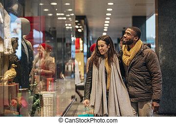 shopping, finestra, natale