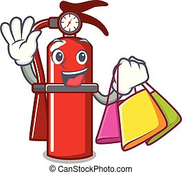 Shopping fire extinguisher character cartoon
