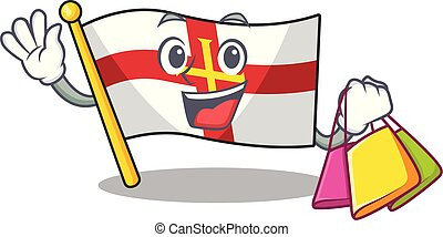 Shopping flag guernsey with the cartoon shape vector illustration