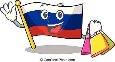 Shopping flag russian stored in cartoon cupboard