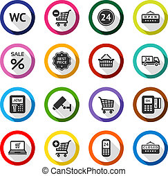 Shopping flat color icons set 03