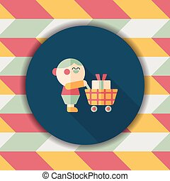 shopping flat icon with long shadow,eps10