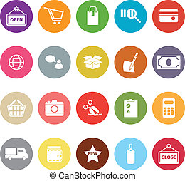 Shopping flat icons on white background
