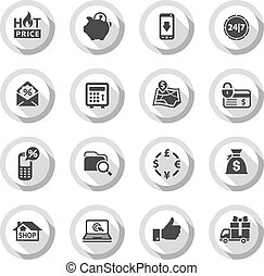 Shopping flat icons set 02