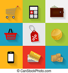 Shopping Flat Icons Set Vector Illustration