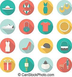Shopping flat icons.