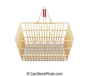 shopping, fondo., isolato, interpretazione, cesto, bianco, 3d