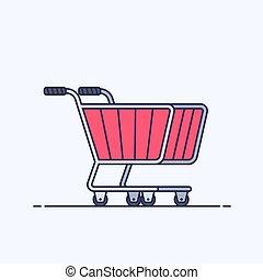 shopping, fondo., o, cart., carrello, isolato, store., bianco, appartamento, illustrazione, contorno, supermercato