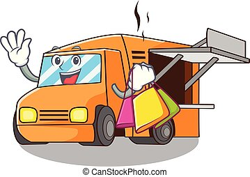 Shopping Food Truck with Isolated on mascot