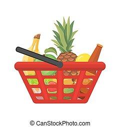 shopping, foods., illustrazione, vettore, cesto, cartone animato