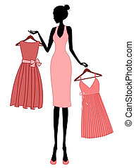 Illustration of a young elegant woman shopping for a dress.