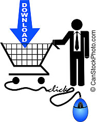 shopping for downloads - business man shopping or searching...