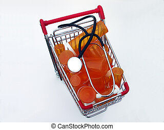 Shopping for health care (top view) - Miniature shopping...