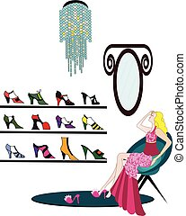 shopping for shoes - illustration of a woman trying out new...