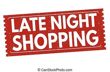 shopping, francobollo, segno, notte tardiva, o