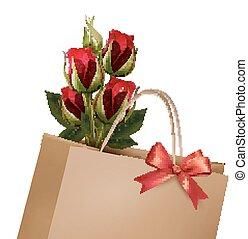 shopping, fundo, buquet, saco, papel, roses., vector., feriado, vermelho
