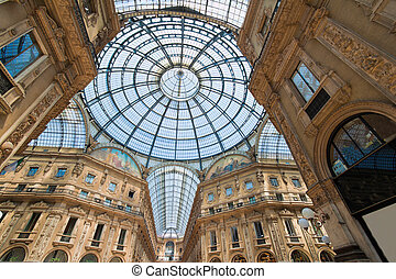Shopping Galleria Vittorio Emanuele in Milan, Italy. Lombardy.