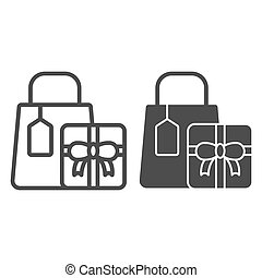 Shopping gifts line and glyph icon. Presents vector illustration isolated on white. Shopping package outline style design, designed for web and app. Eps 10.