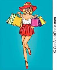 shopping, giovane, pop, vettore, illustrazione, presa a terra, sexy, arte, ragazza, bags., felice