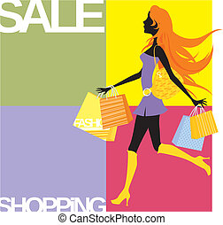 shopping girl background