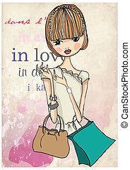 shopping girl - fashion, girl, shopping, sketch, woman, bag,...