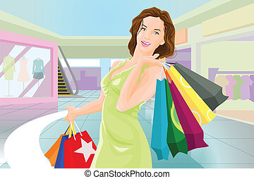 Shopping girl in a mall