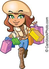Shopping Girl - Pretty stylish brunette girl is very happy...