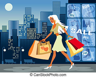Shopping Girl - Illustration of girl on the sales