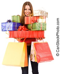 shopping girl - Beautiful woman holding many gift boxes and...