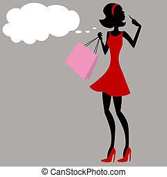 Shopping Girl Thinking - An image of a shopping girl...