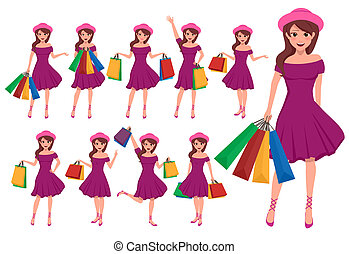 Shopping girl vector character set. Female cartoon characters