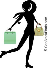 Shopping Girl with Bags Silhouette