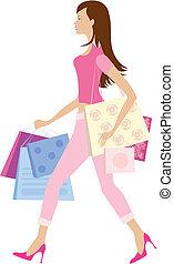 Shopping girl1 - Girl holding shopping bags