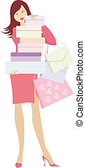 Shopping girl3 - Girl holding shopping bags