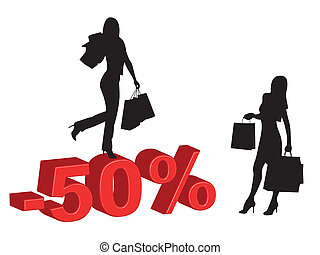 Shopping girls and discounts - Girls silhouettes making...