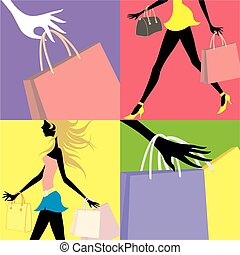 shopping girls background