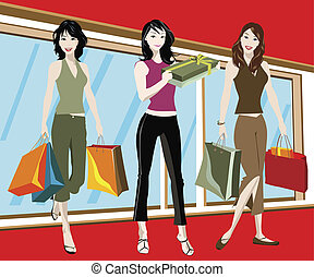 SHOPPING GIRLS - detailed illustration of three woman with ...