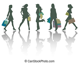 shopping girls silhouettes against white background,...