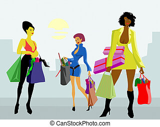 Shopping girls - Three girls with shopping bags after buying...